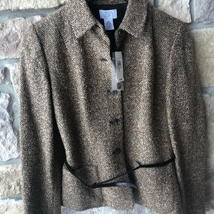 Ann Taylor Blazer Size 2 Brown Tweed Wool Blend